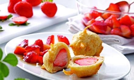 Erdbeeren im Tempurateig