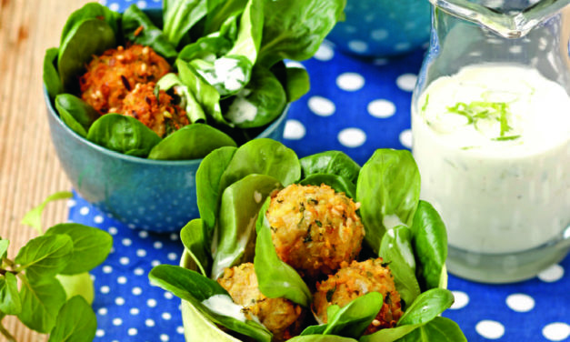 Minze-Falafel auf Vogerlsalat mit Limettendressing
