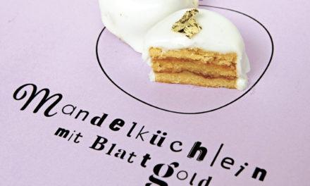 Mandelküchlein mit Blattgold Petit-Fours