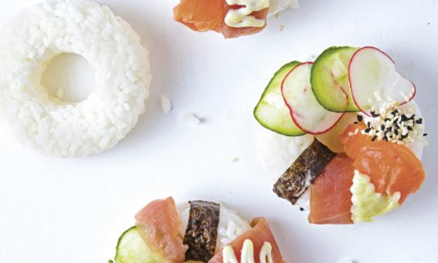Sushi-Donuts mit Wasabi-Mayonnaise