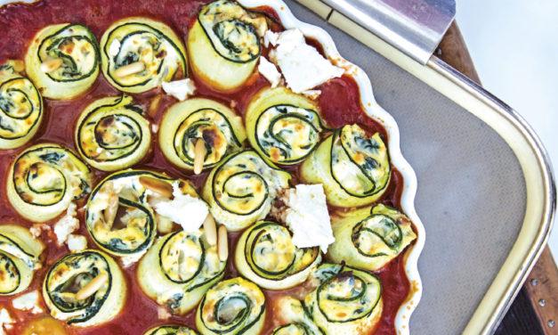 Zucchini-Cannelloni mit cremiger Käsefülle