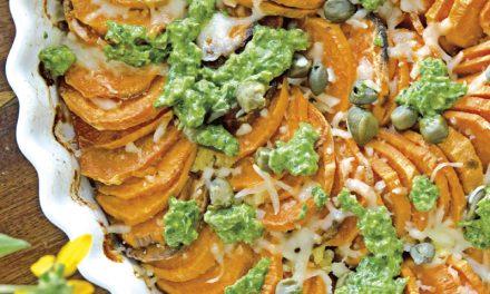 Süßkartoffel-Gratin mit Salsa Verde