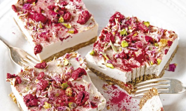 Pink Raw Cheesecake Slices