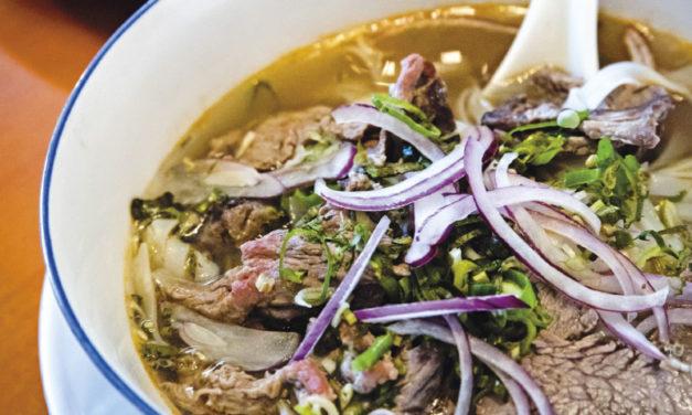 Vietnamesische Suppe mit Rindfleisch